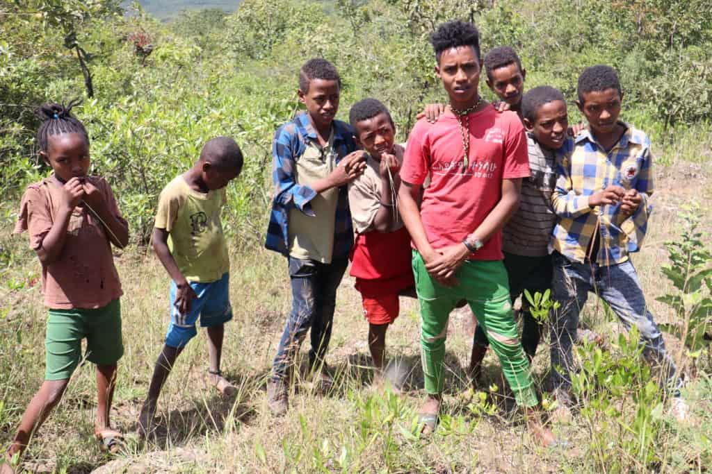 Kinder aus einem Dorf in Äthiopien die vor dem Wald stehen, der bei ihnen mit FMNR neu wächst.