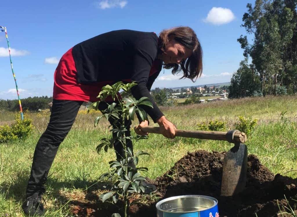 Kerstin Hack pflanzt einen Baum in Äthiopien